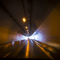 a car in a tunnel